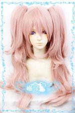 492 Dangan-Ronpa Junko Enoshima Long Pink Wavy Cosplay Wig Clips Ponytails