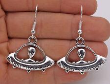925 Silver Plated Hook -1.7'' Alien UFO Retro Silver Tone Club Lady Earrings #61