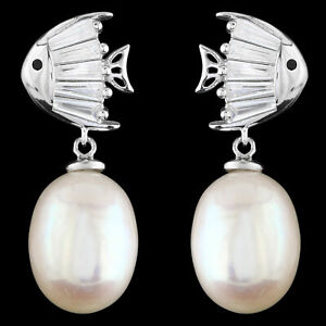 UNHEATED NATURAL 11X9MM FRESHWATER PEARL FISH DESIGN STERLING SILVER 925 EARRING