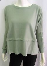 Long Sleeve Oversized Top, Drop Shoulder w/Snap Sleeve Detail, Sage, Sz Small