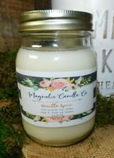 Scented VANILLA SPICE 16oz Mason Jar Hand Poured Magnolia Candle Co. 100% Soy