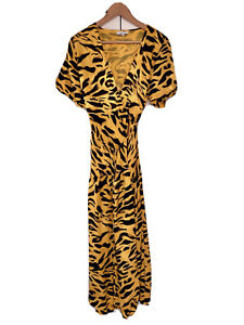Topshop, Satin Wrap Midi Dress, Drop Waist, Animal Print, Canary Yellow, 10/38