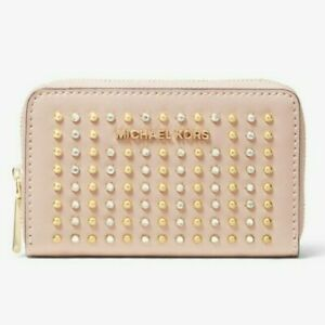 Michael Kors Small Studded Crystals Soft Pink wallet/money piece NEW Gold/Silver