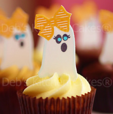 Halloween Cake Toppers - Edible Wafer Cupcake Ghosts - x 20