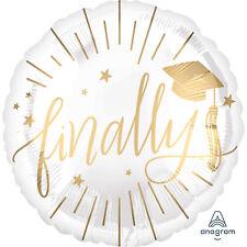 Finally Graduation Foil Party Balloon Classy White & Gold Graduation Decoration