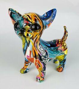 Multicolour Colourful Graffiti Sitting Puppy Dog Sculpture Ornament Chihuahua gi