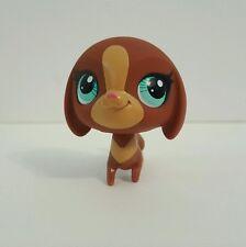 Littlest Pet Shop Dachshund Dog Puppy Green Dot Eyes Tan Face LPS