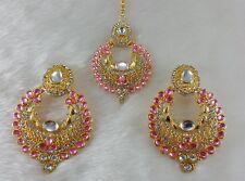 Kundan Light Pink Single Line Real Look GoldPlated Stone Party Wear Earring Tika