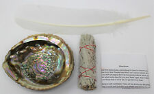 Large Abalone Shell + Sage Smudge Stick + White Feather (Cleansing, Smudging)