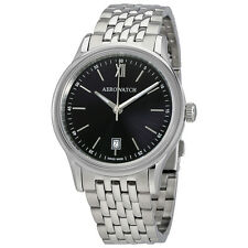 Aerowatch Les Grandes Classiques Black Dial Stainless Steel Mens Watch A 24962