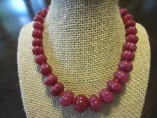 Antique 925 Sterling Signed Ruby Melon Carved CHUNKY NECKLACE CHOKER 16.5IN=94g