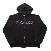 Vintage 90s Champion Hoodie Mens Medium Xavier University College Spell Out Gray