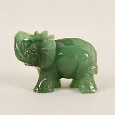 Hand Carved Elephant Green Aventurine Jade Stone Craving Lucky Feng Shui statue