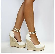 New Womens High Wedge Heel Espadrille Platform Sandals Ankle Boots size 7 white