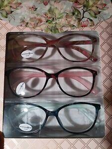 3 Pack Max Studio Premium Reading Glasses +2.50 Multi-Color Designer Readers
