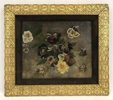Antique Late 19th C Victorian Pansies Oil Painting On Canvas Original Gold Frame