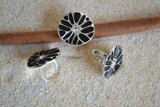 Anillo de acero inoxidable diseño cóctel anillo circonita negro banda anillo plata me 361