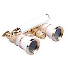 White 3x25 Brass Binocular Optic Lens Opera/Theater Telescope W/Handle Glasses