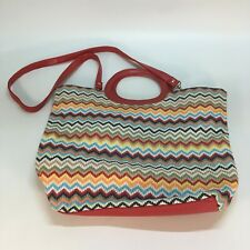 Large Straw Woven Chevron Multi Colored Red Leather Tote Bag Purse (L3)