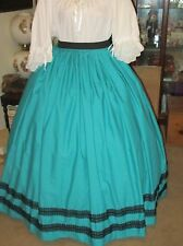 CIVIL WAR DRESS~VICTORIAN STYLE 100% COTTON SOLID TEAL SKIRT WITH