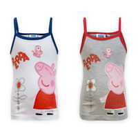 Girls Peppa Pig Cotton Cami Top Children Kids Strappy Sleeveless T-shirt Vest