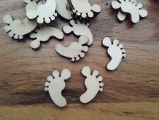 50 Wooden Foot Shapes 22mm Embellishments Natural Wood
