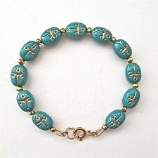 SCARAB TURQUOISE & GOLD ETCH BEADED BRACELET ~ STUNNING!
