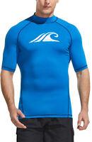 TSLA Men's Mid Sleeve Rash Guard Swim Shirts, UPF 50+ Quick Dry Swimming Shirt