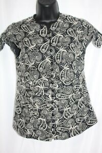 Nannette Lepore Women's Black Ivory Embroidered Top Cap Sleeve Floral Size 8