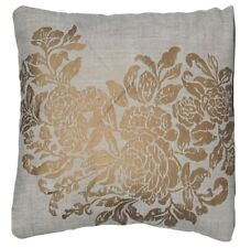 Gold Cushion Cover Printed Grey Linen Fabric Osborne & Little Soubise Square 16""