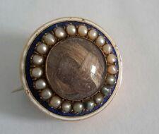 Antiguo Oro Rosa Victoriana década de 1890 9 CT Pelo Broche Collar Broche de semilla de esmalte.