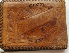 Vintage Hand Made Worn Laced Tooled Leather Western Wallet Bifold Name Ronnie