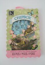 K&Company Merryweather Alphabet ChipBox Chipboard 69 Pcs Blue w/Glitter Design