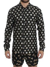 NEW DOLCE & GABBANA Black Print SILK Pajama Shirt Sleepwear s. IT4 / US s