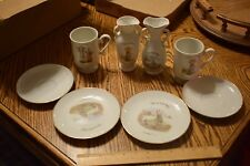 Lot of 8 Pc Vintage 70's Holly Hobbie Footed Porcelain Coffee Cups/ Vases Plates