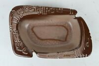 Vintage Mid Century Modern Frankoma 471 Brown Glazed Brutalist Pottery Ashtray