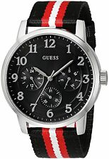 Guess Men's SILVER-TONE AND STRIPED ANALOG 44mm Watch U0975G1 NEW!