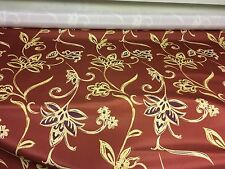 BEAUTIFUL LINEN LOOK RED FLORAL PRINT DESIGNER CURTAIN FABRIC 12 METRES