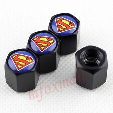Black Auto Accessories Wheel Tire Tyre Stem Caps Dust Hat Cover Superman Trim