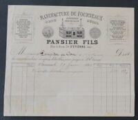 Facture 1889 MANUFACTURE DE FOURNEAUX PANSIER ST ETIENNE   old bill Rechnung 12