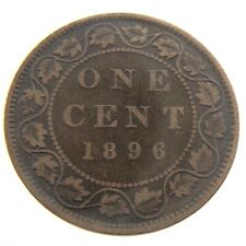 1896 Canada Large One 1 Cent Penny Copper Canadian Circulated Victoria Coin P958