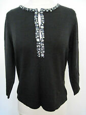 TALBOTS Black Silk Blend Pullover Sweater With Black/ Silver Beads  PETITE M