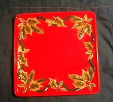 Susan Winget Winter Song red Holly square 8 Inch plate Christmas Holiday