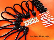 BUNGEE BUNJI LOOPS 100 MM + KNOBS BLACK x 10 UTE TONNEAU KIT INC POSTAGE