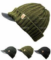 NEW Unisex Knit Slouchy Baggy Visor Beanie Winter Hat Short Brim Ski Warm Cap