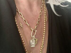 ✨💎Large 14K Gold 1.40 Carat Diamond Lock  Very Marla Aaron Tiffany Hardware💎✨