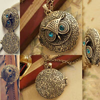 New Women's Owl Vintage Long Locket Bronze Pendant Sweater Chain Necklace