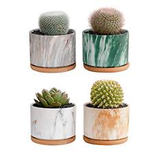 Gardenplus Succulent Plant Pots 3.5 Inch Round Marbling Ceramic Succulent with –