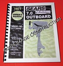 Sears Ted Williams 7.0HP Outboard Owners Manual and Parts Book 217.59440 1971
