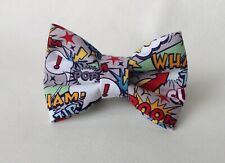 Handmade Superhero Words  Fabric Dog Bow Tie Only